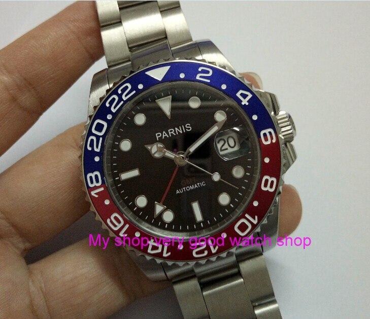 4a49419b7ad 40 MM PARNIS Japonês Cristal de Safira movimento Automático Auto Vento  relógio dos homens GMT Gl25 em Relógios mecânicos de Relógios no  AliExpress.com ...