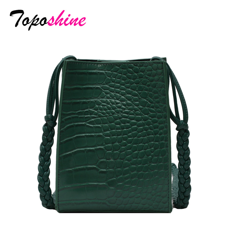 Toposhine Bucket-Bag Messenger-Bag Braid-Shoulder-Strap Female Casual New-Fashion Stone