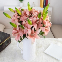10 Pcs Simulation 2-head Latex Artificial Lily for Home Garden Indoor Mini Wedding Party Bridal Bouquet Flower