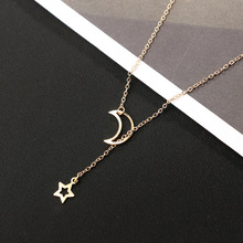 Best Moon And Star Pendant Gold Color Chain Necklace For Women Cheap