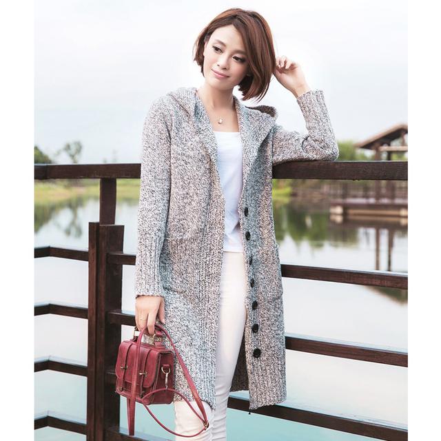 Women Cardigan Jackets 2017 Winter Single Breasted Hooded Long Cardigan Sweaters Loose Knitted Sweater Coat Casual Knitwear