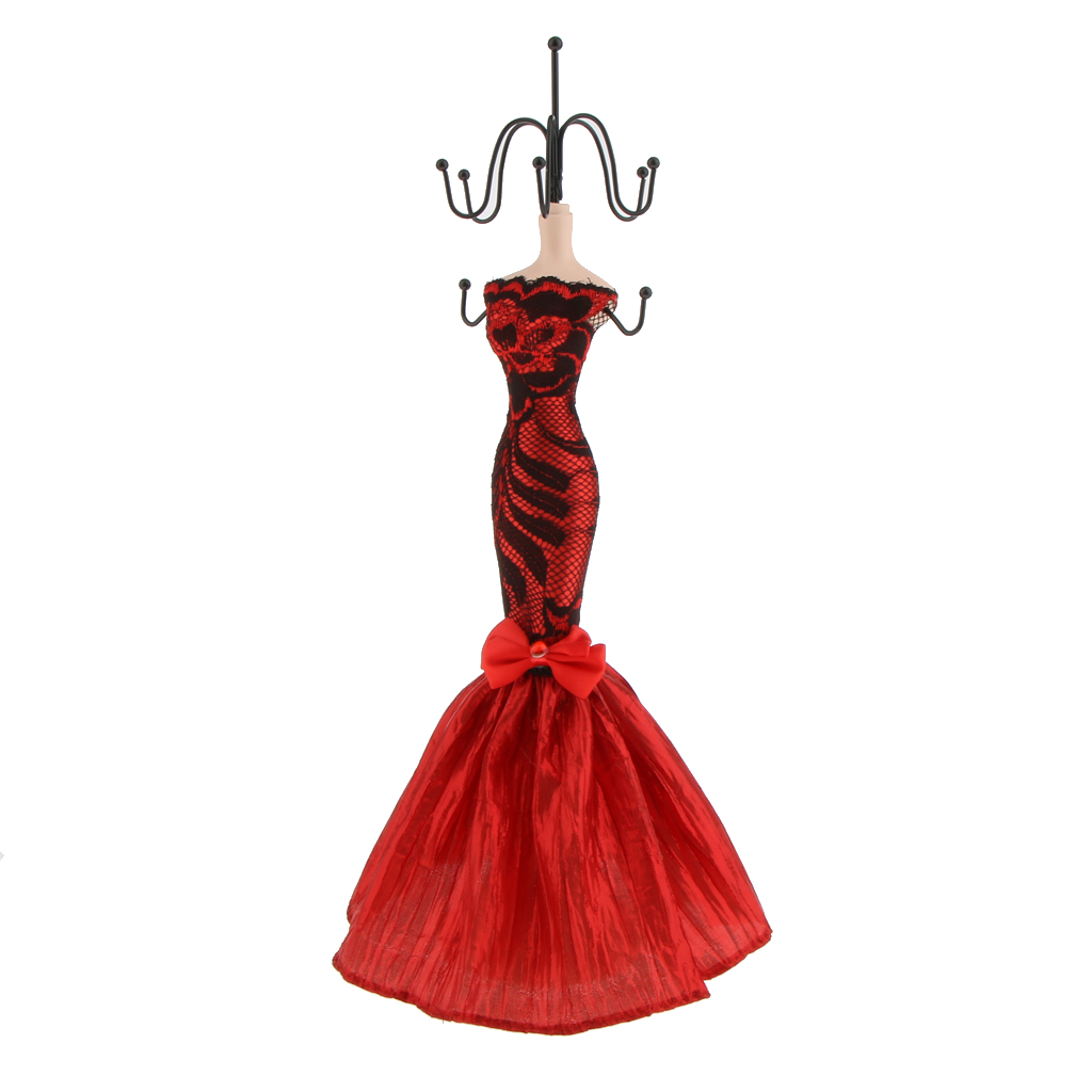 Elegant Mannequin Dress Lady Jewelry Organizer Stand Hanging Ring