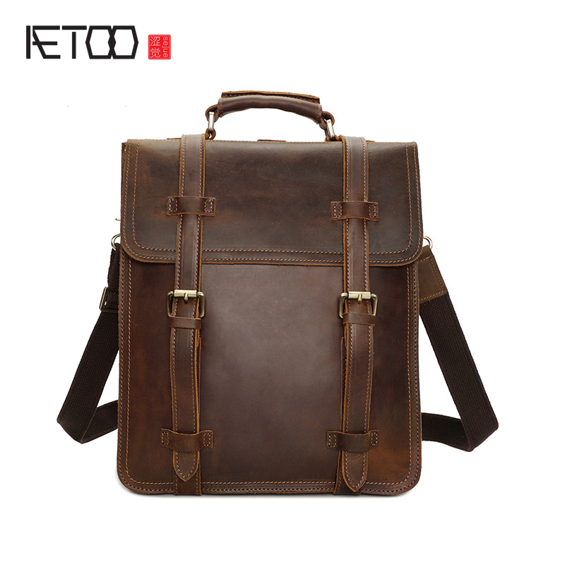 AETOO Europe and the United States retro crazy horse skin men shoulder bag leather shoulder bag male backpack leather backpack c aetoo europe and the united states fashion new men s leather briefcase casual business mad horse leather handbags shoulder