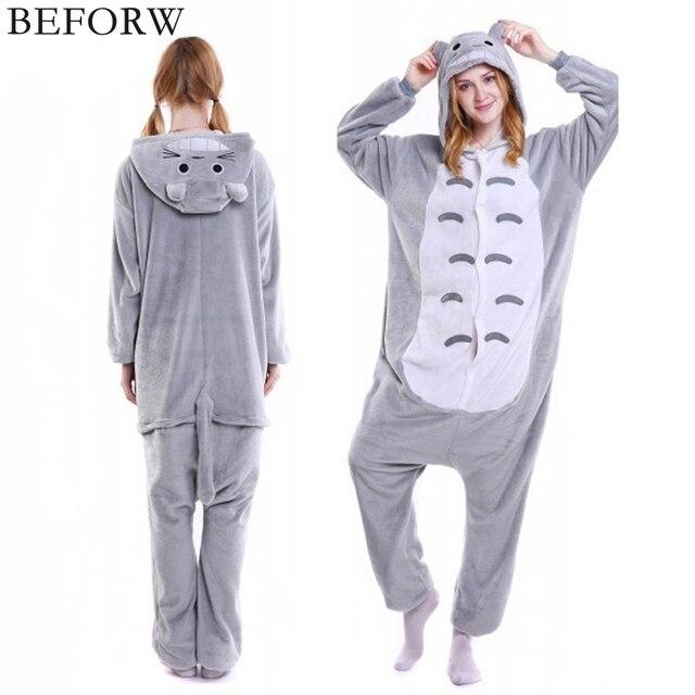 BEFORW Фланель пижама Милый животное кигуруми единорог панда медведь Тоторо  Косплей пижамы для взрослых домашний костюм 46c45b50e4a26