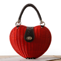 MISS YING 2017 Summer Holiday Beach Bags Women Heart Shaped Straw Weave Handbags Famous Brand Ladies