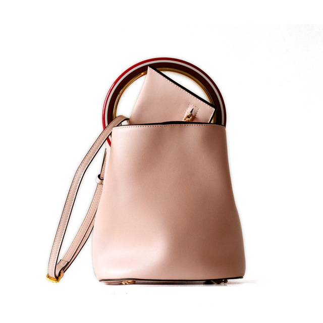 MZORANGE Brand Genuine Leather Women Handbags Simple Bucket Design Tote For Ladies Metal Ring Vintage Shoulder Crossbody Bags 4