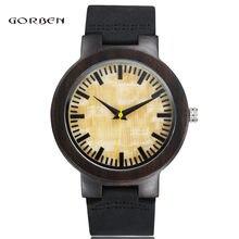 Nuevas Importaciones Japonesas de Movimiento de Cuarzo Reloj de Pulsera de madera de Sándalo Hombres Estudiante Reloj Correas de Reloj de Cuero Negro Reloj Mejor Regalo W024