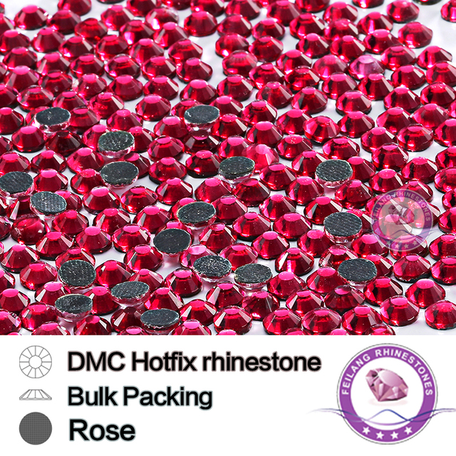 Rose Size SS6 SS10 SS16 SS20 SS30 Bulking Packing Hotfix Rhinestone For Garments Bags And Shoes