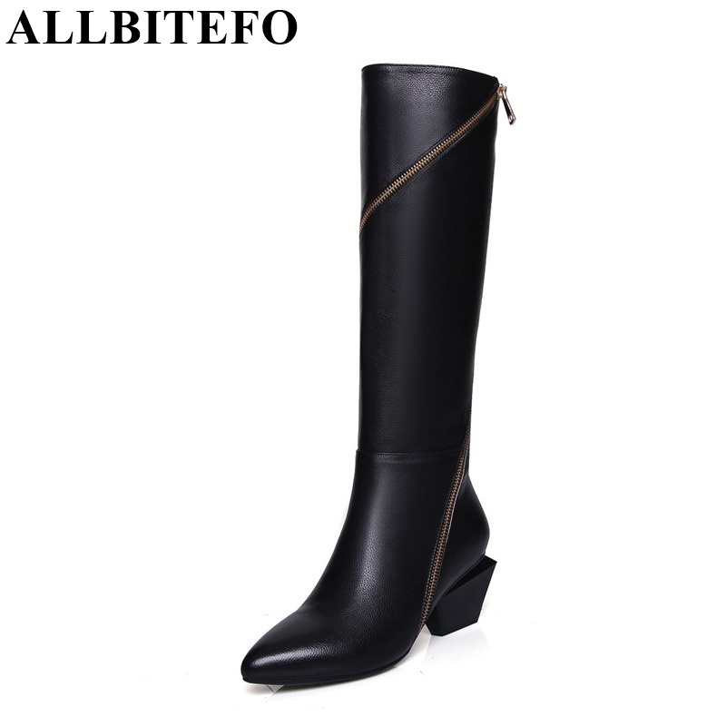 ALLBITEFO Full genuine leather Mixed colors chains design fashion brand women knee high boots winter snow zip women boots allbitefo golden zip decorate fashion spring winter snow shoes genuine leather pu women boots casual knee high boots size 33 43