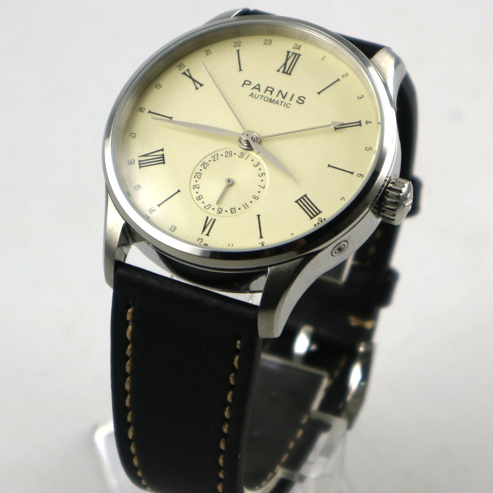 42mm Parnis off-white dial 24 Hours ST 1690 Automatic Movement Mens Watch