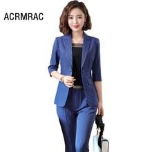 Women suits Slim summer Half sleeve stripe jacket Pants 2-piece set