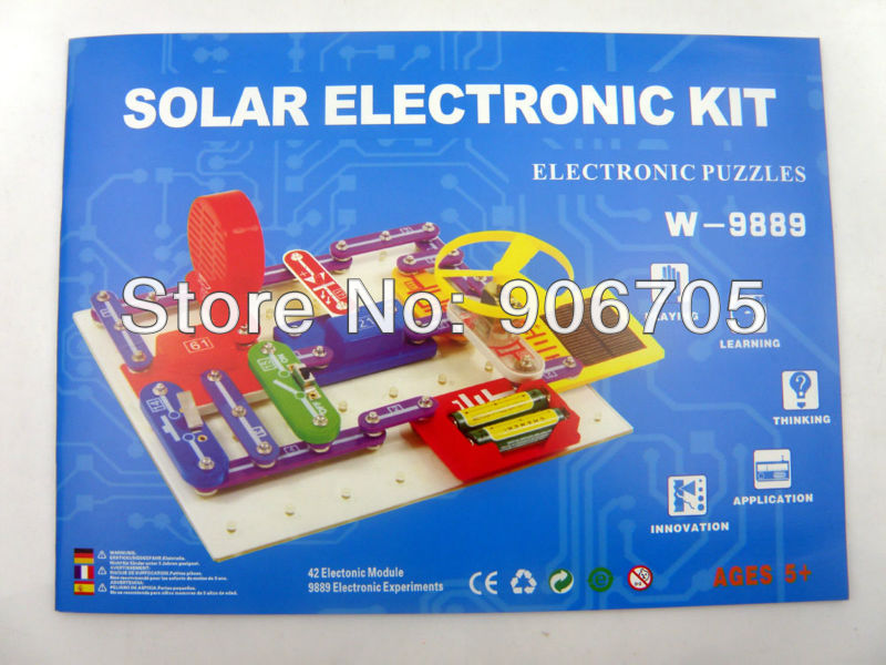 Free shipping Solar educational kit electronic building blocks W-9889,Educational appliance toys for kids,1PC/Lot free shipping solar educational kit electronic building blocks w 9889 educational appliance toys for kids 1pc lot