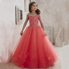 Holy Dream Flower Girls Dresses 2016 Scoop Short Sleeves Long Red Beading Crystal Girls Pageant Communion Dress For Wedding C212