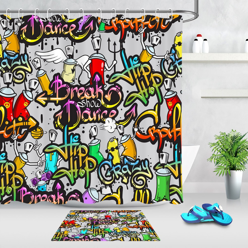 lb fly funny hip hop graffiti purple red yellow shower curtain 12 hooks sets kids bathroom mat waterproof polyester cloth fabric