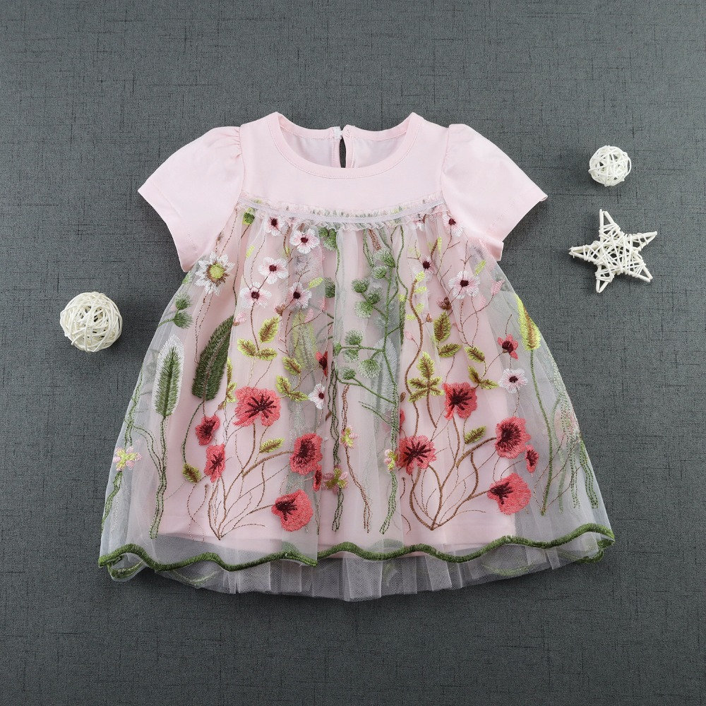 2017 Summer Baby Girl Lace Dress Embroidered Dress New Brand Design Girl Floral Princess Dresses Birthday Party Child Clothing mantra cocoon
