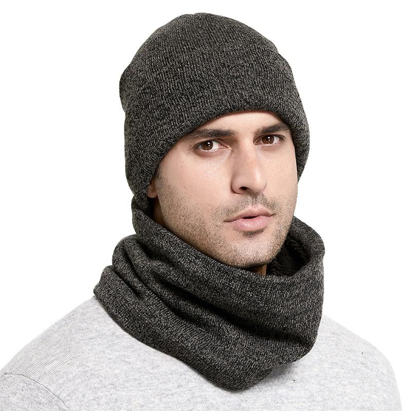 Winter Knitted Hats Scarf Set Thicken Plus Velvet Unisex Warm Beanies Soft Men Women Cotton Solid Scarf Hat Kit