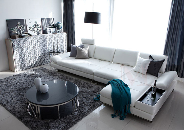 White Leather Sofa Sectional Couch L Shape w/ Stainless Steel Legs 6