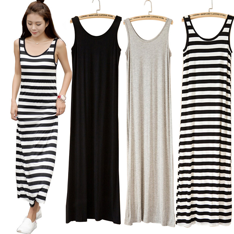 US $12.99 43% OFF|Plus size women bodycon maxi dress Robe longue femme tank  dress Summer sundress Casual sleeveless striped long tshirt dress-in ...