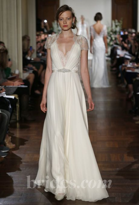 Vintage Jenny Packham Summer Beach Wedding Dresses Y Deep V Neck Cap Sleeve Lace Beads Chiffon Sheath Bridal Gown Vestidos In From
