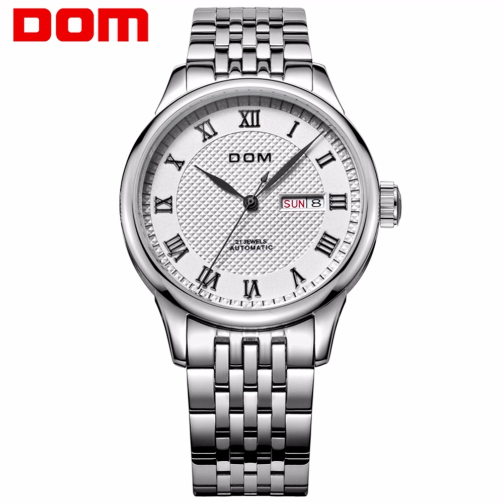 Original Brand Watches Men DOM M-59 Automatic Self-wind Stainless Steel Waterproof Business Men Wrist Watch Timepieces seagull pvd with stainless steel self wind 3 hands exhibition back automatic men s business watch m149sk
