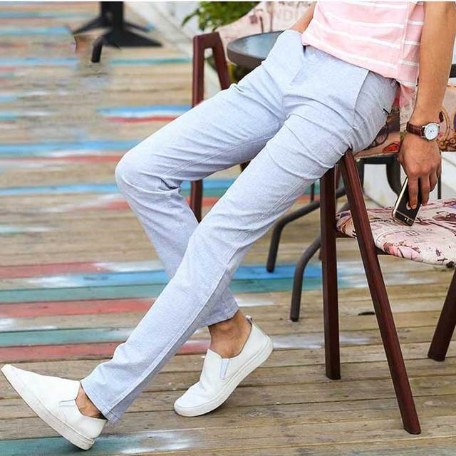 173cc60d04 US $21.41 |Sales Spring Summer Thin Casual Pants Men Flat Front Straight  Fit Cotton & Linen Trousers for Male Light Gray Blue Khaki-in Casual Pants  ...