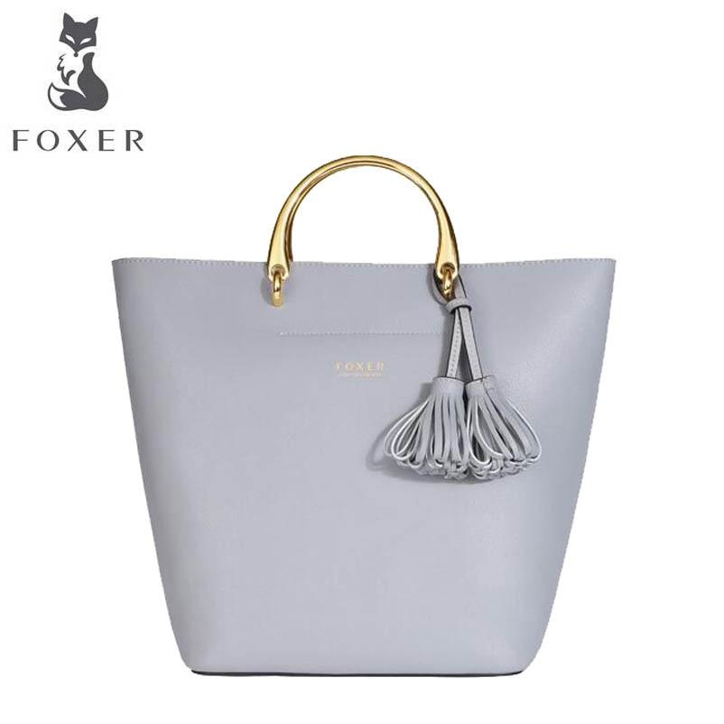 FOXER hot 2018 new brand women leather bag fashion luxury big bag women leather shoulder bag crossbody women bags foxer brand 2018 women leather crossbody bag
