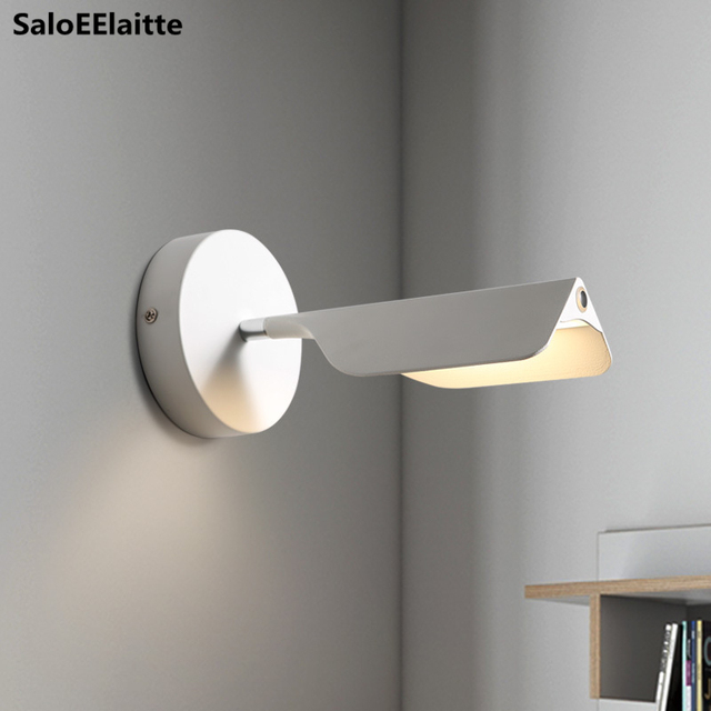 Nordic Painted Metal Leaf Led Wall Lamp Minimalism Rotatable Dimmable Touch Switch Bedsides