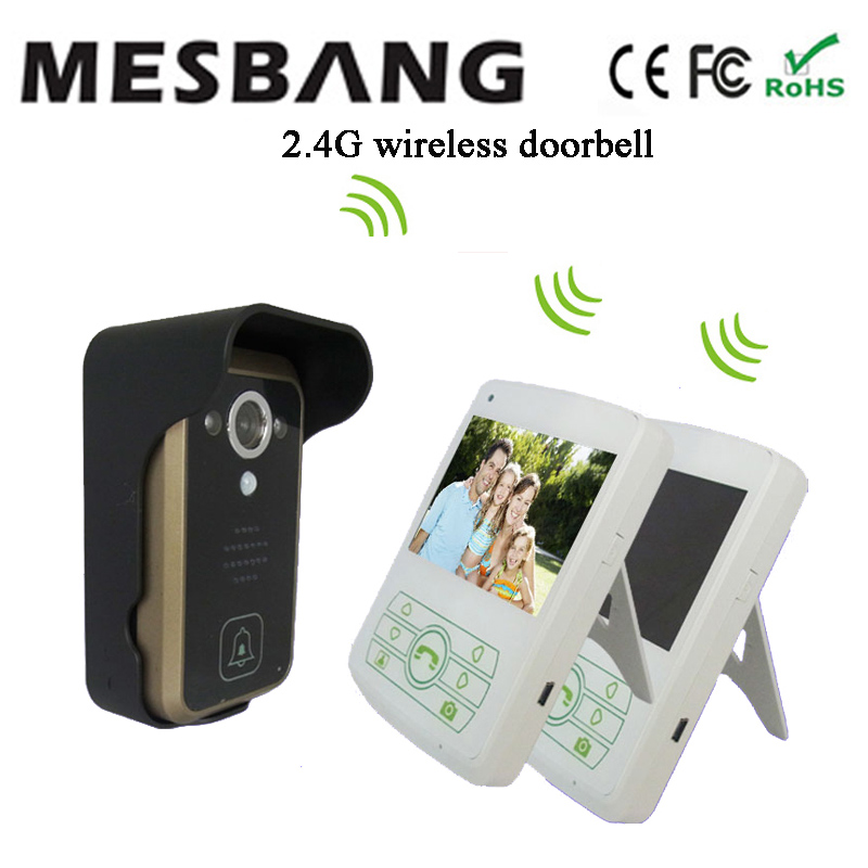 2017 hot white color wireless video door intercom one camera two 3.5 inch monitor easy to install free shipping ...
