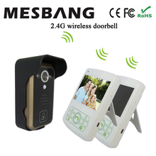 2017 hot  white color wireless video door intercom one camera two  3.5 inch monitor  easy to install free shipping