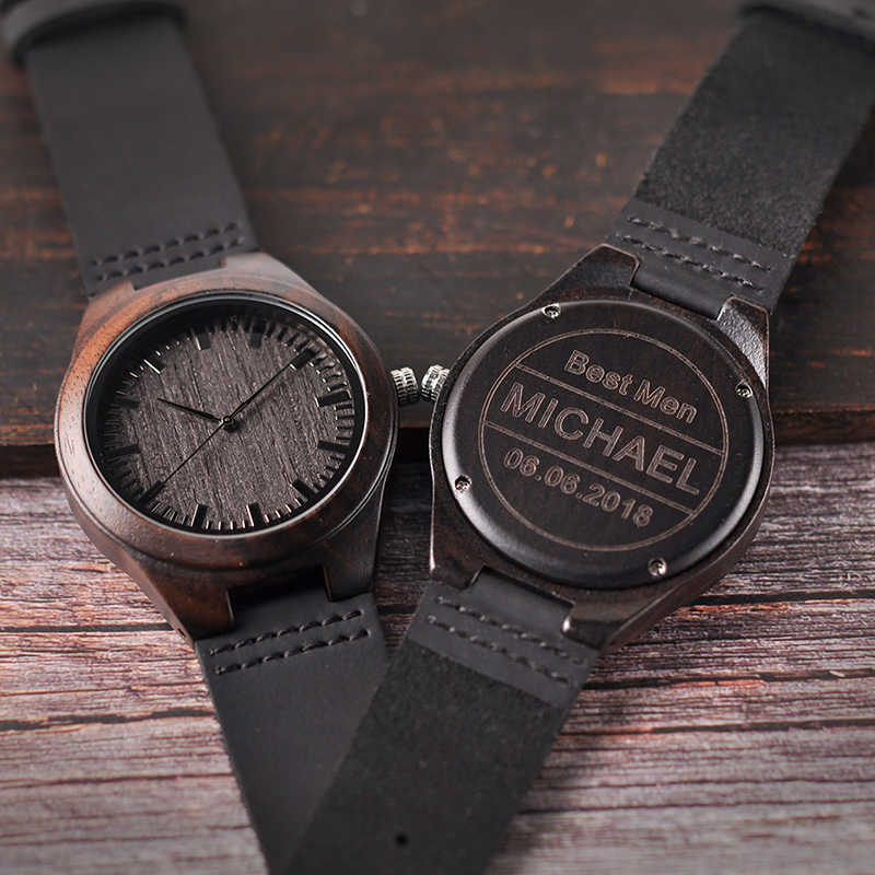 Personalisierte Holz Uhren Gravierte Uhren Jahrestag Geschenk Groomsmen Geschenk Familie Präsentieren Vater der Geschenk für Männer