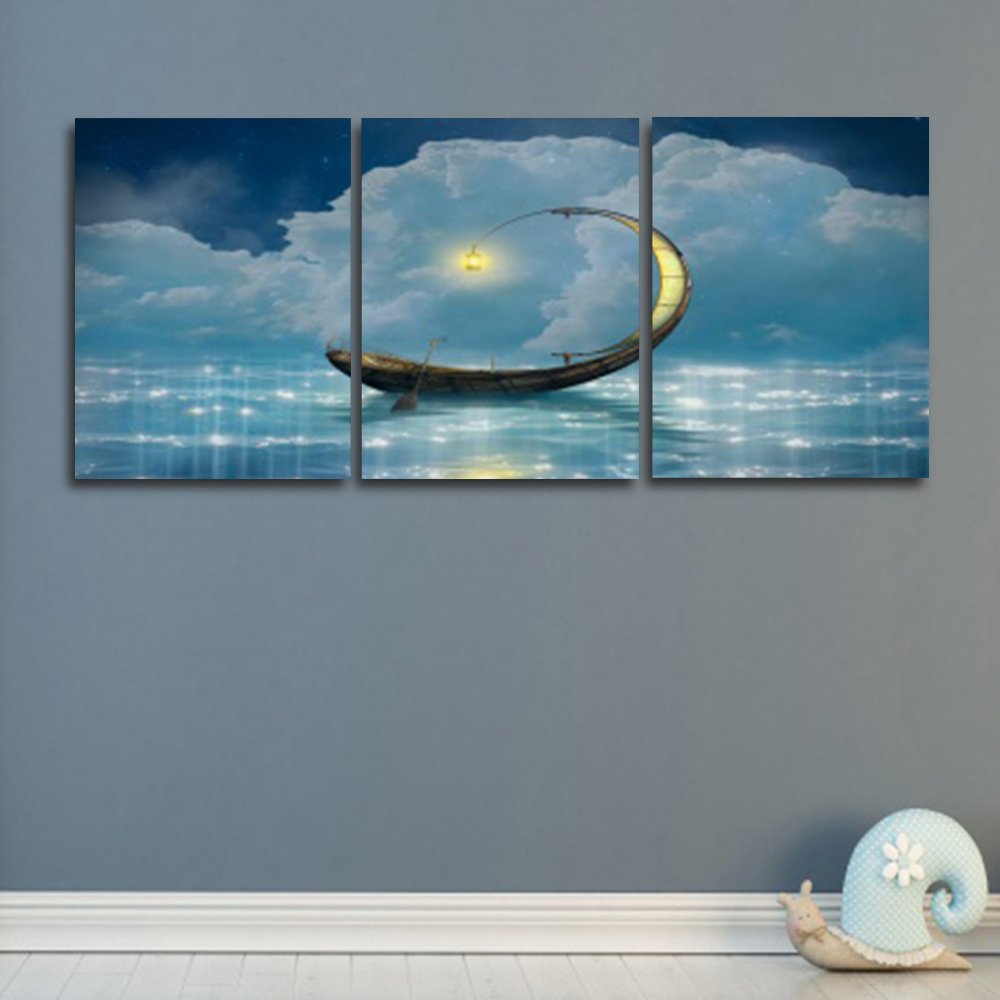 Laeacco Night Moon Boat Wall Art Abstract Posters and Prints Paint On Canvas Painting Nordic Living Room Home Decoration in Painting Calligraphy from Home Garden