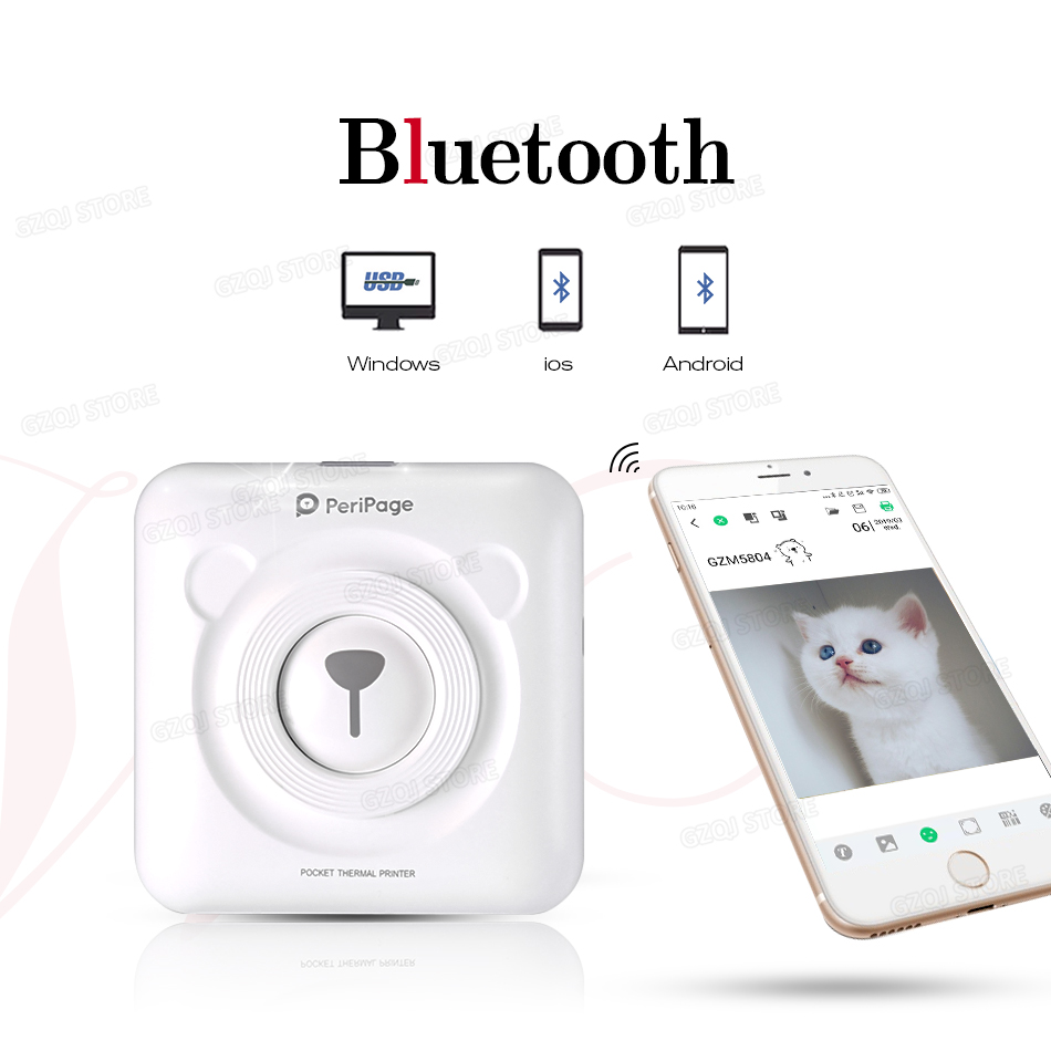 Christmas gift for children Girls girlfriend couple Mobile Mini thermal Bluetooth Printer 58mm Peripage Photo Portable