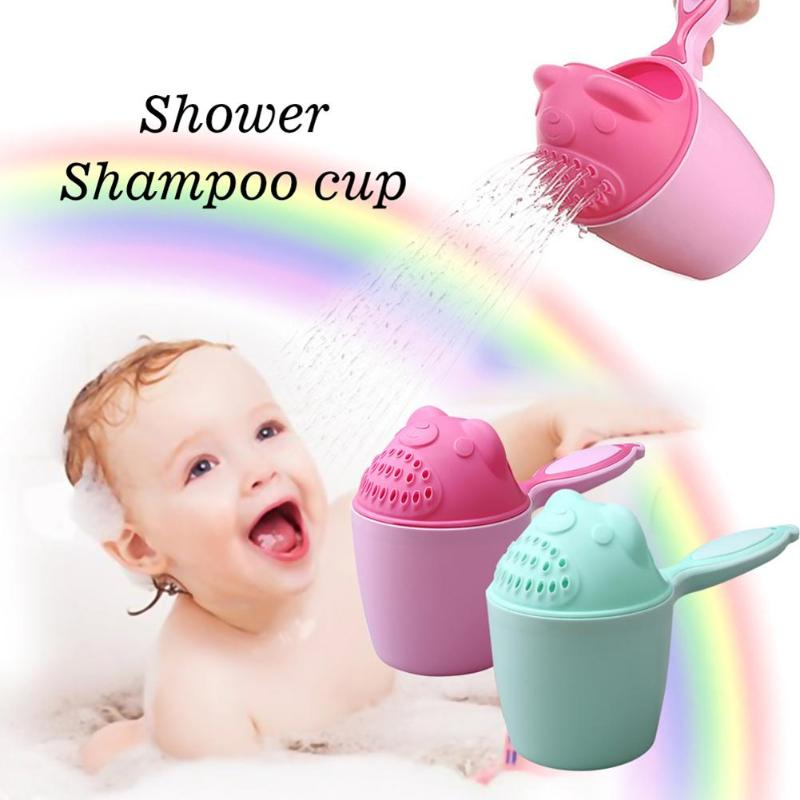 Baby Cartoon Bear Bathing Cup Newborn Kid Shower Shampoo Cup Bailer Baby Shower Water Spoon Bath Wash Cup For 2 Color