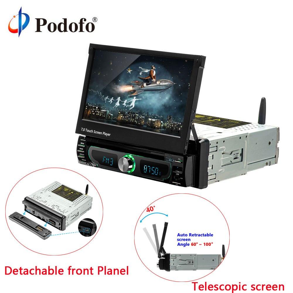 Podofo 1din Android 7 ''Универсальный dvd-плеер автомобиля gps навигации стерео Bluetooth Радио Аудио плеер FM Автомобильный мультимедийный плеер
