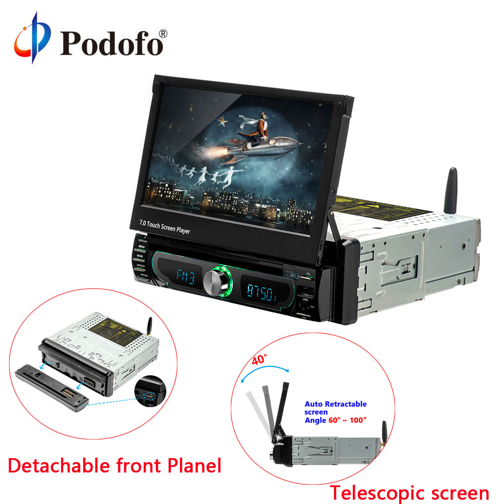 Podofo 1din Android 7'' Universal Car DVD Player GPS Navigation Car Stereo Bluetooth Radio Audio Player FM Car Multimedia Player 1din 8gb gps audio stereo single 1din car radio digital touchscreen cpu headunit fm am rds receiver subwoofer aux car dvd player