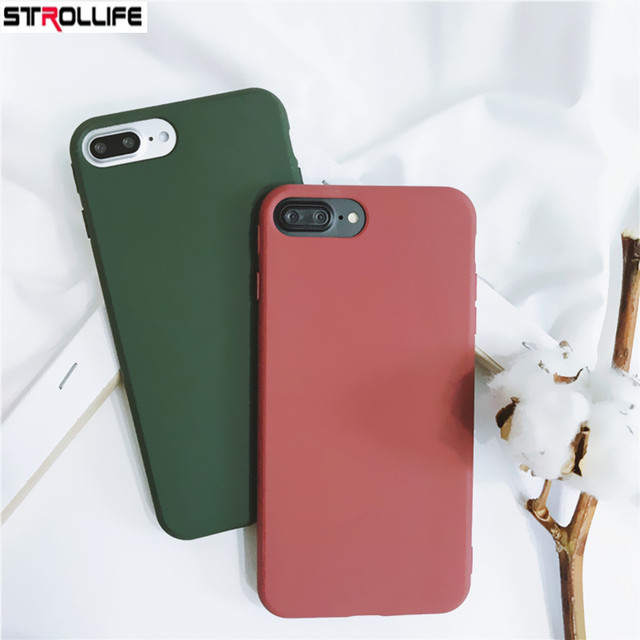 brand new 29f6b 86813 US $1.31 22% OFF|STROLLIFE Candy Color Cool Green Phone Cases For iphone 7  Case Retro Wine Red Soft TPU Silicone Cover For iPhone 7Plus 6 6s Capa-in  ...
