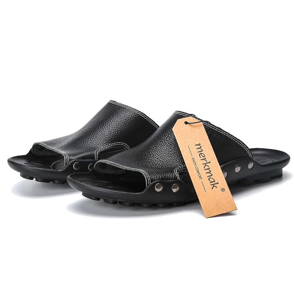 74d0d78b8017 ... Merkmak Genuine Leather Slippers Men Summer Sandals Breathable Brand  Designer Stylish Shoes Real Leather Seaside Beach