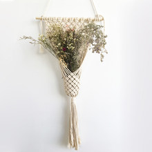 New arrival 100% handmade beige color macrame Tapestry macrame wall hanging Tapestry for flower pot(China)