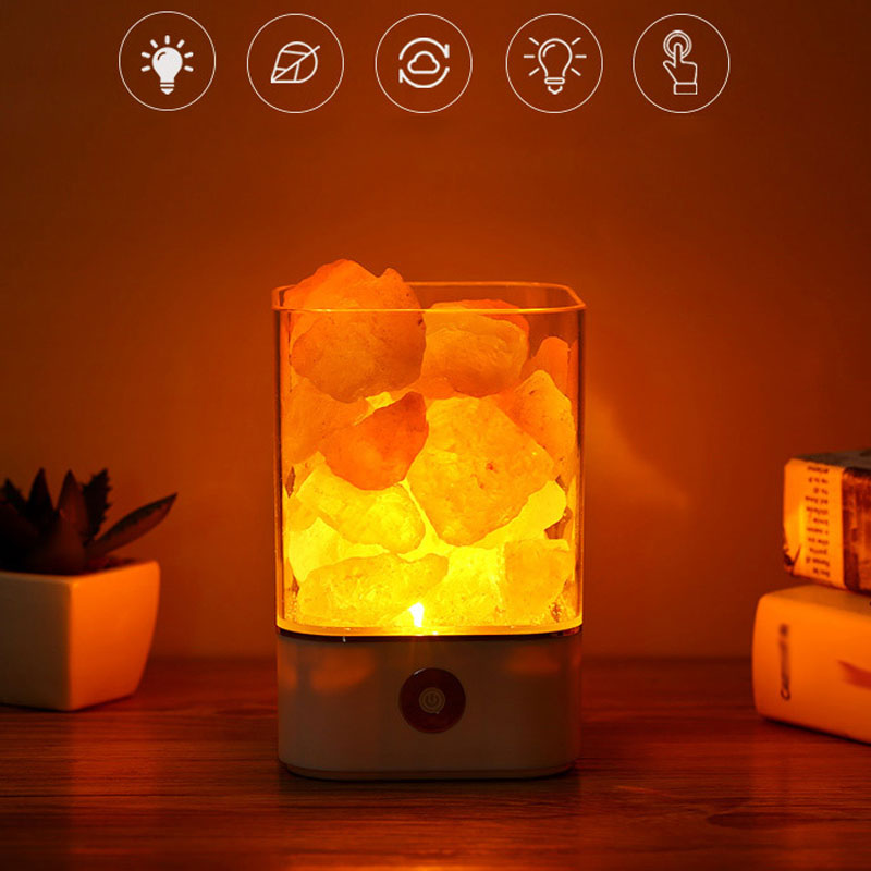 Newest USB Night Light Himalayan Crystal Rock Salt Lamp Air Purifier Night Lights Home Office Decor @8