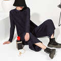 [soonyour] 2017 Autumn  Irregular Knitting Unlined Upper Garment T Skirt and  All-match Wide Leg Pants Fold Suit Woman MY12005
