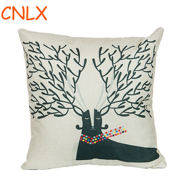 Manufacturers Selling Christmas Reindeer Pattern Linen Decorative Awesome Decorative Pillow Manufacturers