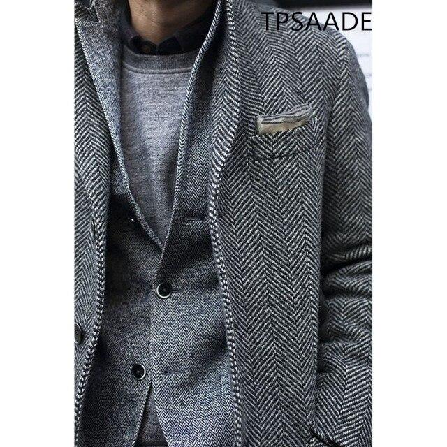 Latest Tweed Men Wedding Suits custom made Formal Groom Suit Tweed Coat Blazer Jacket Coat Tailored Slim Fit Coat Only(China)