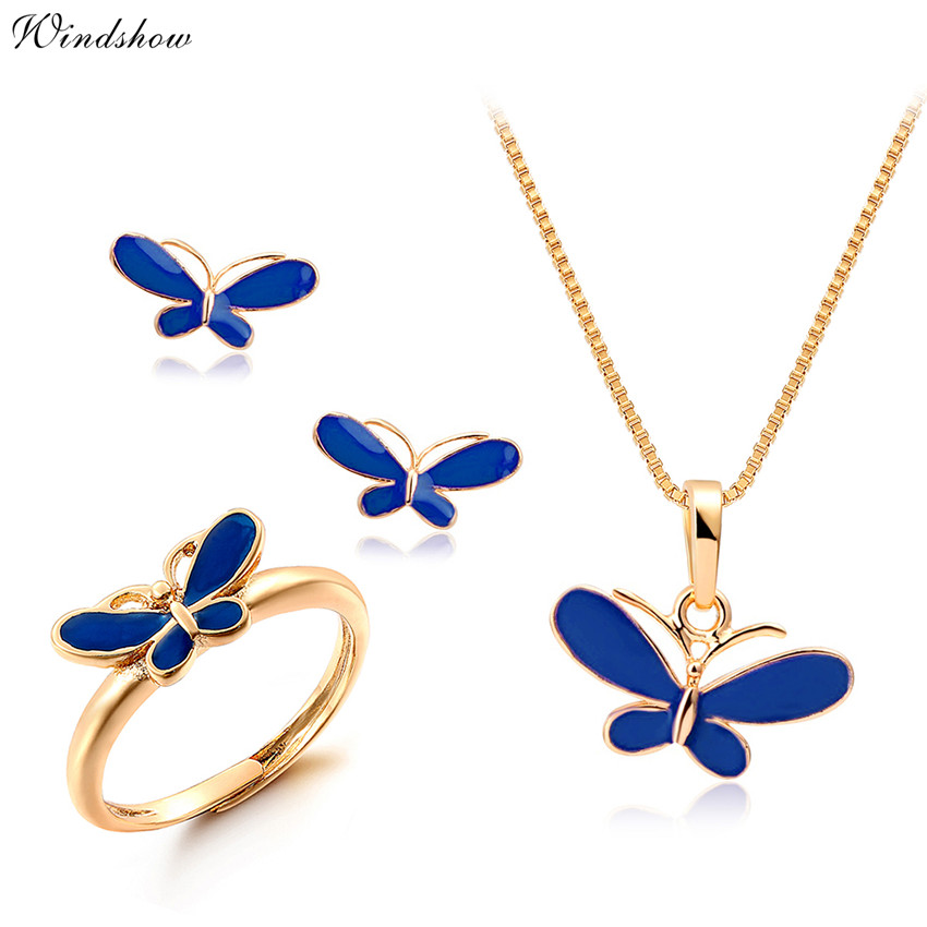 Baby Kids Jewelry Sets Yellow Gold Plated Purple Butterfly