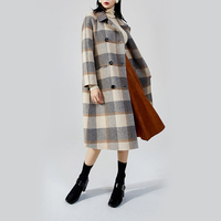 Autumn Winter Coat Women Wool Coat 2019 Fashion Ladies Double Breasted Overcoat Womens Plaid Long Trench Coat manteau femme L217