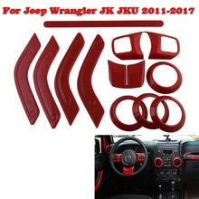 For Jeep Wrangler JK Accessories Full Set Interior Decoration Trim Kit For Jeep Wrangler JK JKU 2011-2017 4-piece parts цена