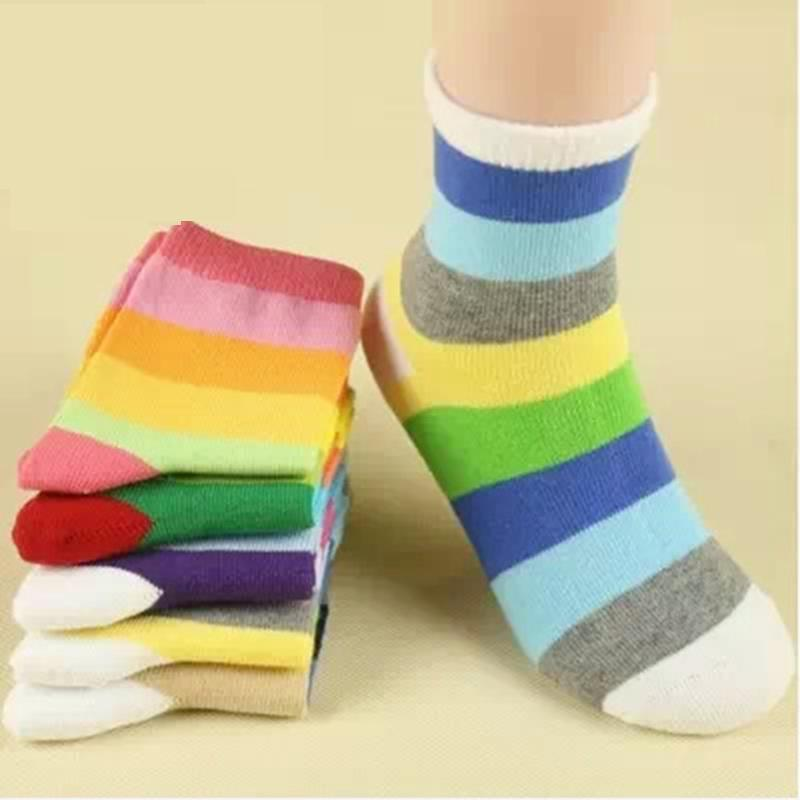 Anyongzu 10pairs/lot Children Socks For Boys Girls New Rainbow Striped Short Sock British Style Suit 1-12year