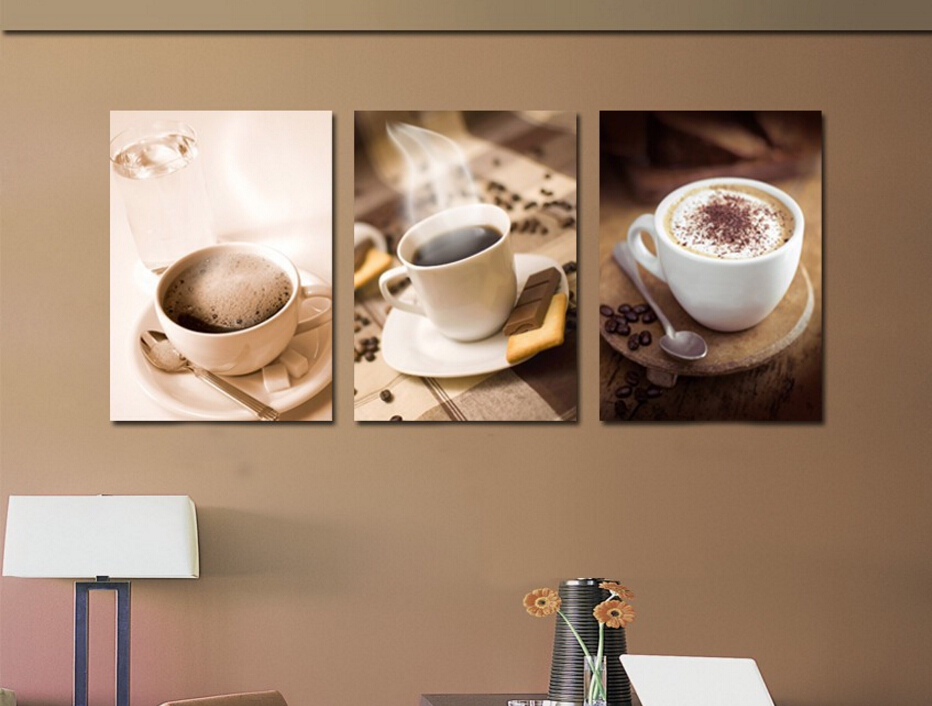 Gentil Hot Coffee Cup Painting Kitchen Room Decor Coffee Shop Wall Art Pictures  Decor Canvas Prints 3 Pieces Modern Paintings Poster In Painting U0026  Calligraphy From ...