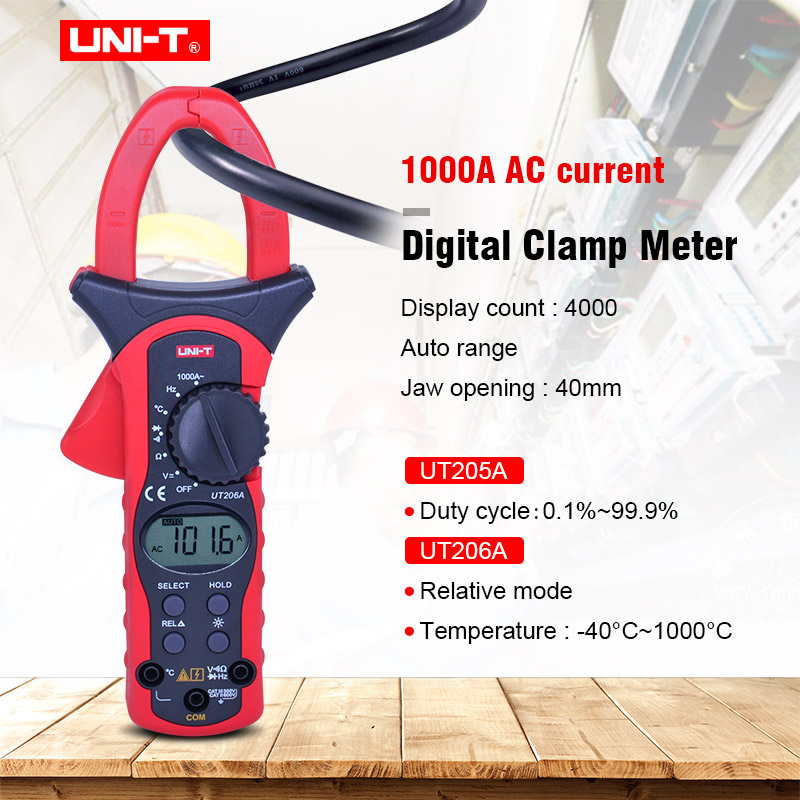 UNIT UT205A UT206A Auto Range 1000A Digital Clamp Meters Multimeters Voltmeter with LCD Backlight High current