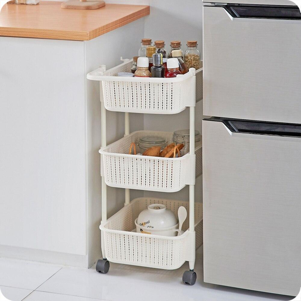 Многослойная корзина для хранения для кухни, ванной комнаты, пластиковая Съемная напольная стойка для овощей, корзина для хранения фруктов wx9031339 - 2