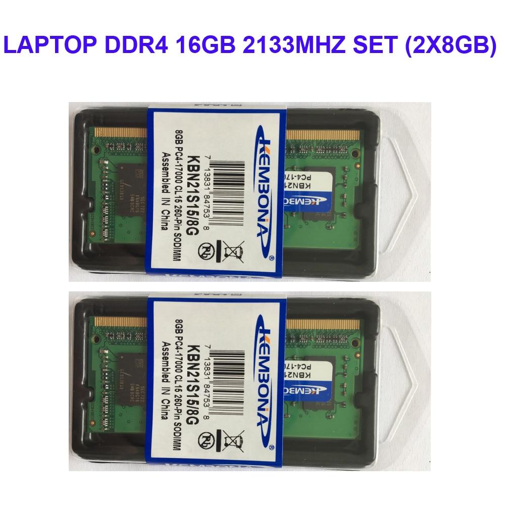 Kembona ORDINATEUR PORTABLE DDR4 16 gb KIT (2X8 gb) RAM Mémoire 2133 mhz Memoria 260-pin SODIMM RAM Bâton livraison gratuite